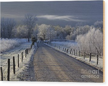 Frosty Cades Cove Hdr Wood Print by Douglas Stucky