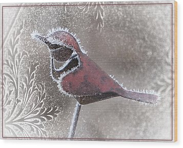 Frosty Cardinal Wood Print by Patti Deters