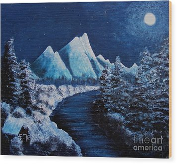 Frosty Night In The Mountains Wood Print by Barbara Griffin
