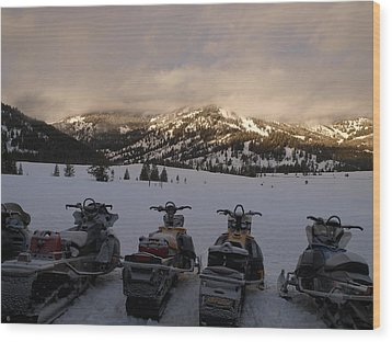 Frosty Snowmobiles Wood Print