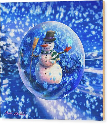 Wood Print featuring the painting Frosty The Snowglobe by Robin Moline