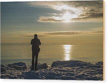 Frozen Beach At Sunset Wood Print by Samantha Morris