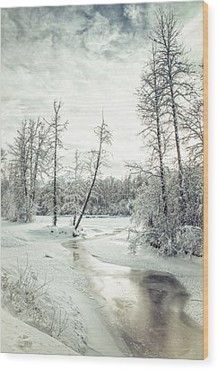 Frozen Creek At Sunset Wood Print by Michele Cornelius