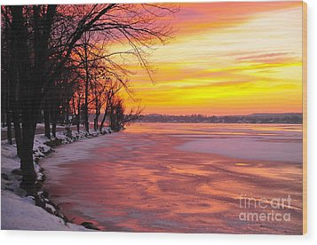 Wood Print featuring the photograph Frozen Dawn At Lake Cadillac  by Terri Gostola
