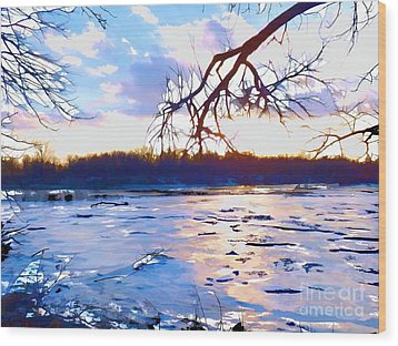 Frozen Delaware River Sunset Wood Print by Robyn King