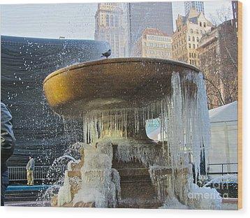 Frozen Fountain Wood Print by Maritza Melendez