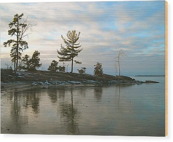 Frozen Lake At Dusk Wood Print