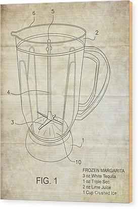 Frozen Margarita Recipe Patent Wood Print by Edward Fielding
