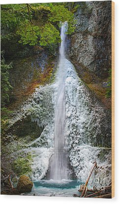 Frozen Marymere Falls Wood Print by Inge Johnsson