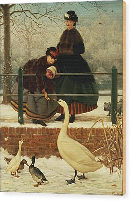 Frozen Out Wood Print by George Dunlop Leslie