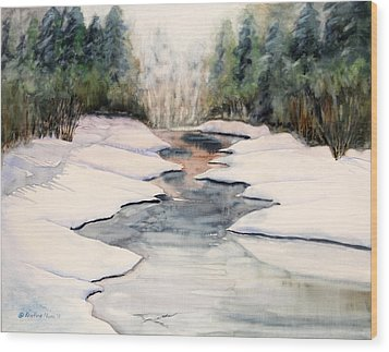 Frozen Over Wood Print by Kristine Plum