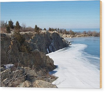 Frozen Quarry Wood Print by Catherine Gagne