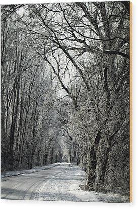 Frozen Road Wood Print by Wayne Meyer