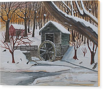 Frozen Water Wheel Wood Print by Jack G  Brauer
