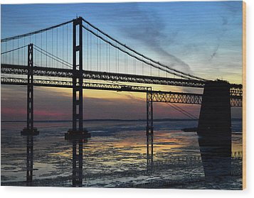Wood Print featuring the photograph Frozen Waters Under The Bay Bridge by Bill Swartwout