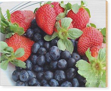 Fruit 2- Strawberries - Blueberries Wood Print by Barbara Griffin
