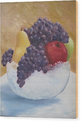 Fruit And Crystal Wood Print by Roberta Rotunda