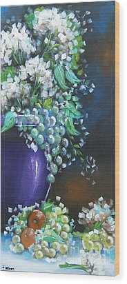 Wood Print featuring the painting Fruit And Flowers Still Life by Patrice Torrillo