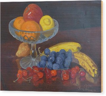 Fruit And Glass Wood Print by Terry Perham