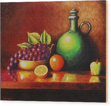 Wood Print featuring the painting Fruit And Jug by Gene Gregory
