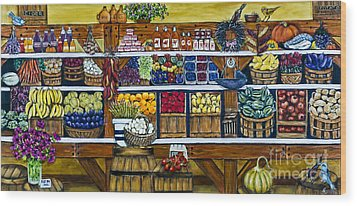 Fruit And Vegetable Market By Alison Tave Wood Print by Sheldon Kralstein