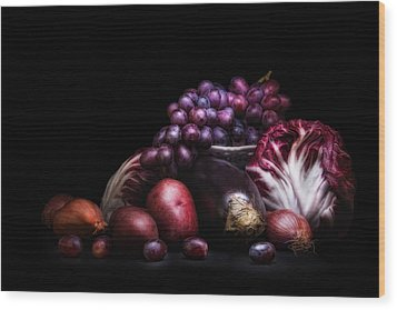 Fruit And Vegetables Still Life Wood Print by Tom Mc Nemar