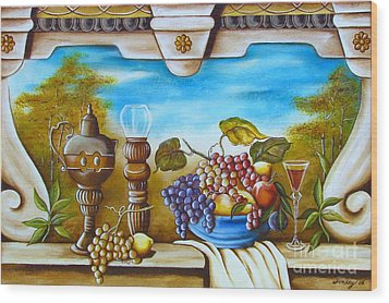 Wood Print featuring the painting Fruit And Vino by Joseph Sonday