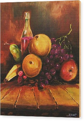 Wood Print featuring the painting Fruit And Wine by Al Brown