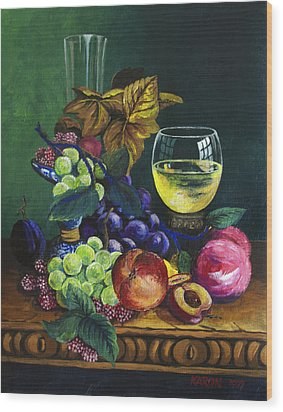 Fruit And Wine Wood Print by Karon Melillo DeVega