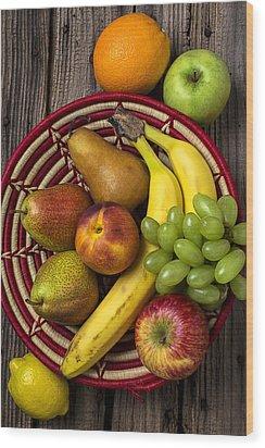Fruit Basket Wood Print by Garry Gay