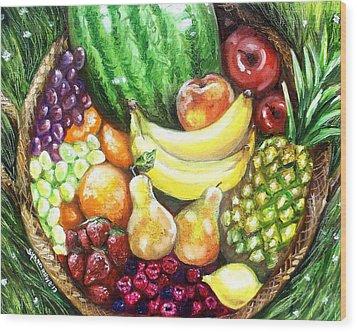 Fruit Basket Wood Print by Shana Rowe Jackson
