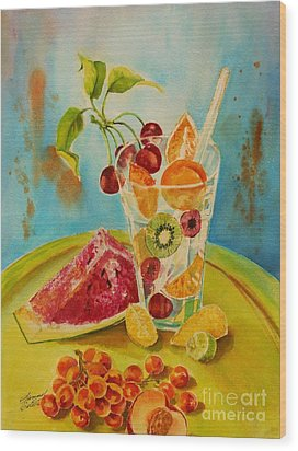 Fruit Coctail Wood Print by Summer Celeste