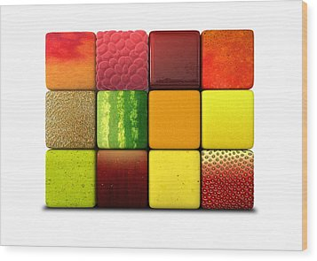 Fruit Cubes Wood Print by Allan Swart