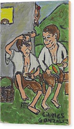 Fruit Eating Boys In Seville Wood Print by Cibeles Gonzalez