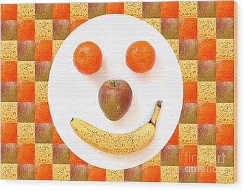 Fruit Face Wood Print by Natalie Kinnear