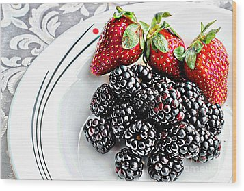 Fruit I - Strawberries - Blackberries Wood Print by Barbara Griffin