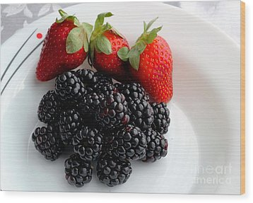 Fruit IIi - Strawberries - Blackberries Wood Print by Barbara Griffin