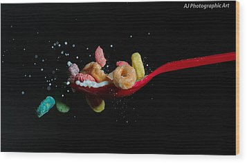 Wood Print featuring the photograph Fruit Loops Meet Milk by John Hoey