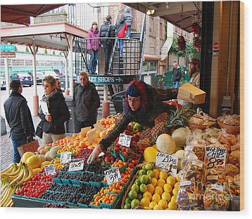 Fruit Market Vendor Wood Print
