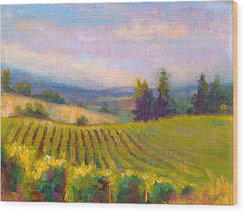 Fruit Of The Vine - Sokol Blosser Winery Wood Print by Talya Johnson