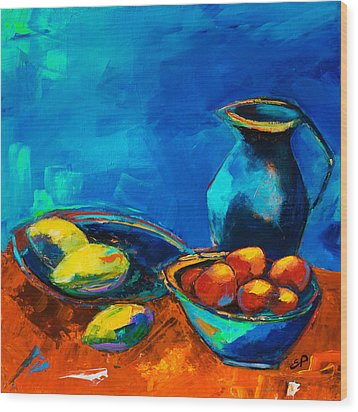 Wood Print featuring the painting Fruit Palette by Elise Palmigiani