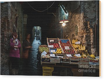 Fruit Stall Wood Print by Marion Galt
