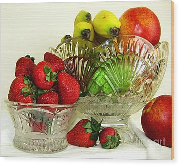 Fruit Still Life 1 Wood Print by Margaret Newcomb