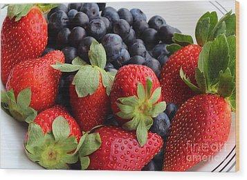 Fruit - Strawberries - Blueberries Wood Print by Barbara Griffin