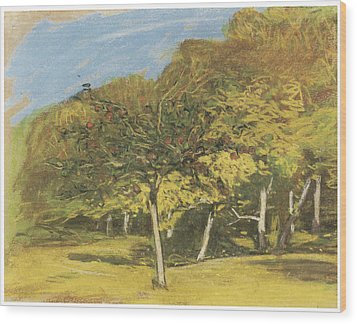 Fruit Trees Wood Print by Claude Monet