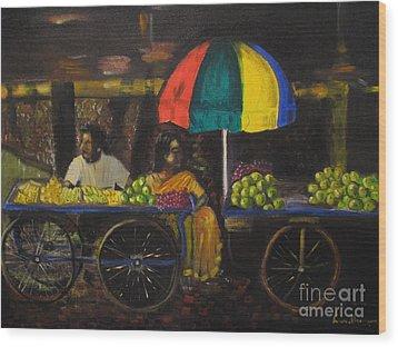 Fruit Vendors Wood Print