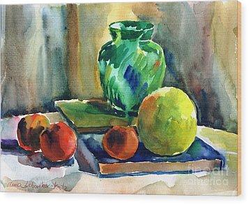 Fruits And Artbooks Wood Print by Anna Lobovikov-Katz
