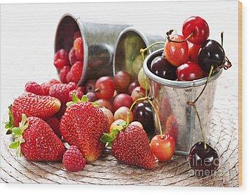 Fruits And Berries Wood Print by Elena Elisseeva