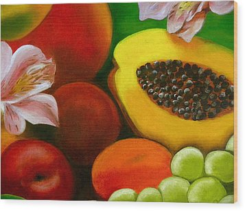 Fruits And Flowers Wood Print