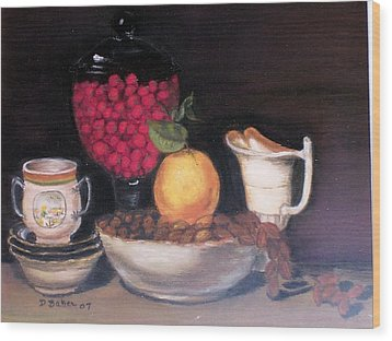 Wood Print featuring the painting Fruits And Nuts by Debbie Baker